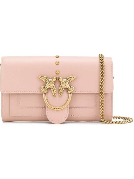 Золотистая розовая сумка через плечо на молнии с карманами Pinko
