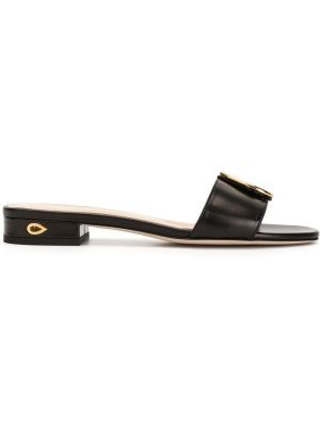 Открытые черные сандалии на каблуке с открытым носком Jennifer Chamandi