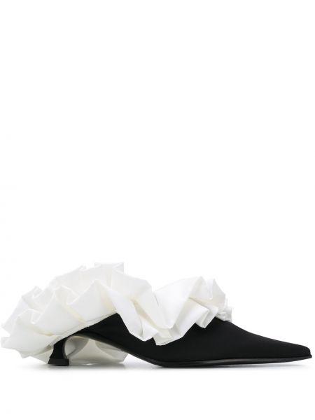 Черные кожаные мюли на каблуке Mm6 Maison Margiela