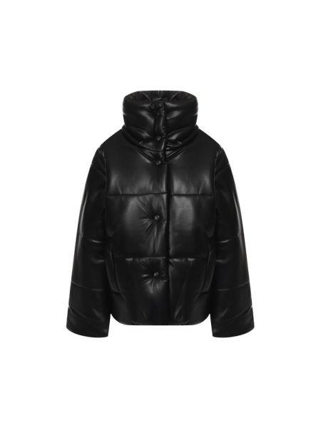 Кожаная куртка черная стеганая Nanushka