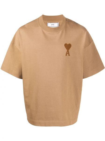 T-shirt bawełniany krótki rękaw oversize Ami