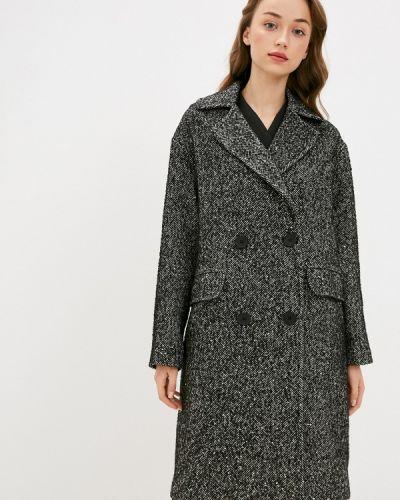 Серое пальто двубортное Lusio