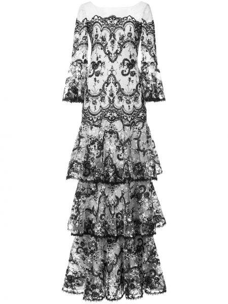 Кружевное платье - черное Marchesa Notte