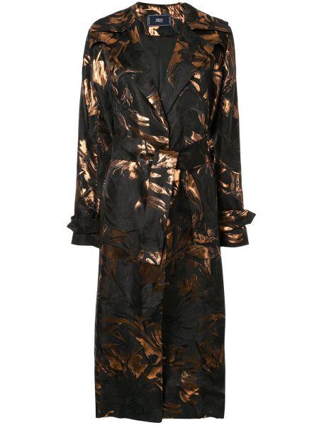 Прямое черное длинное пальто с поясом Taller Marmo