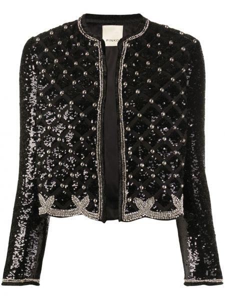 Czarna długa kurtka z długimi rękawami srebrna Pinko