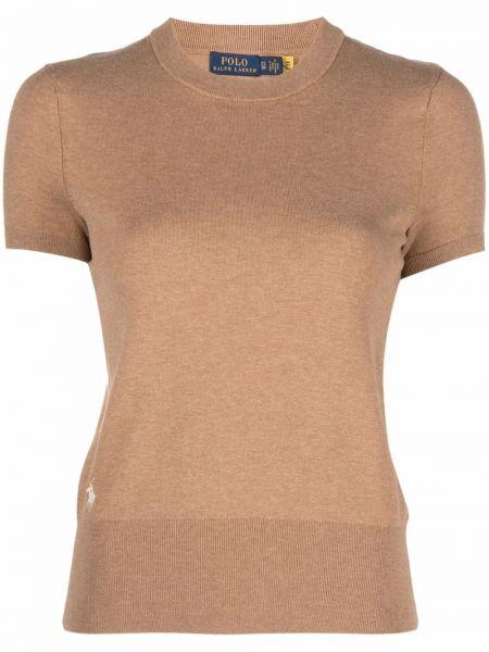 Коричневая хлопковая футболка Polo Ralph Lauren