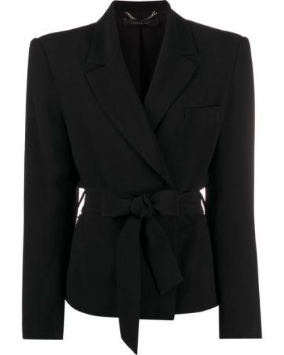 Однобортный черный удлиненный пиджак с поясом Federica Tosi