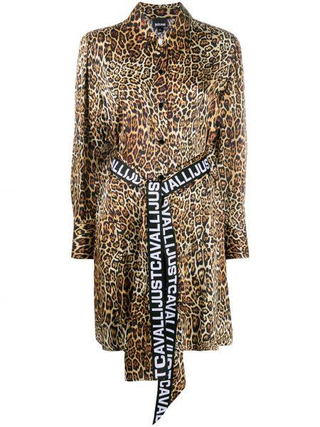 Черное длинное платье-рубашка платье из вискозы Just Cavalli
