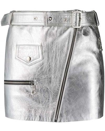 Серая прямая кожаная юбка Manokhi