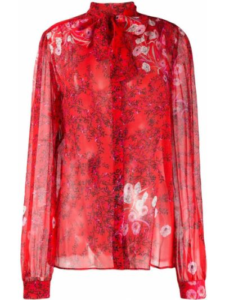 Красная блузка с воротником с манжетами на пуговицах Giambattista Valli