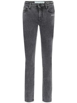 Зауженные белые джинсы-скинни винтажные с пайетками Off-white