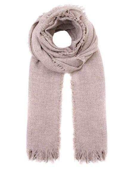 Коричневый шерстяной шарф с бахромой прямоугольный Le Tricot Perugia