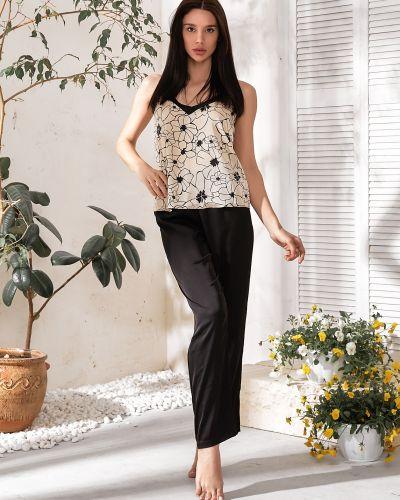 Пижамная черная хлопковая пижама с шортами Barwa Garments