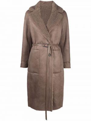 Brązowy długi płaszcz skórzany Urbancode