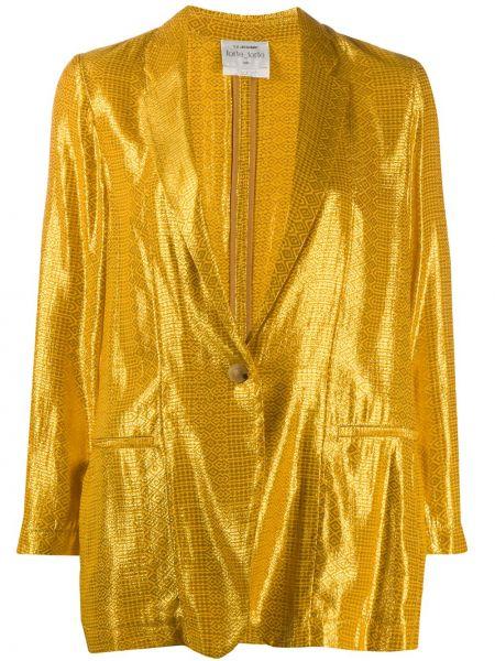 С рукавами желтая куртка с воротником Forte Forte