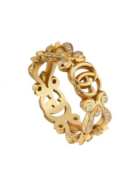 Żółty złoty pierścionek z diamentem Gucci