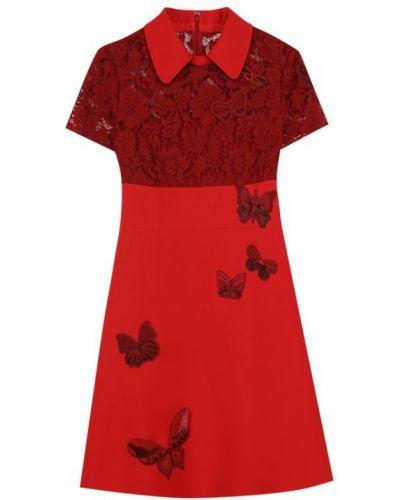 Платье мини с бисером с отложным воротником Valentino