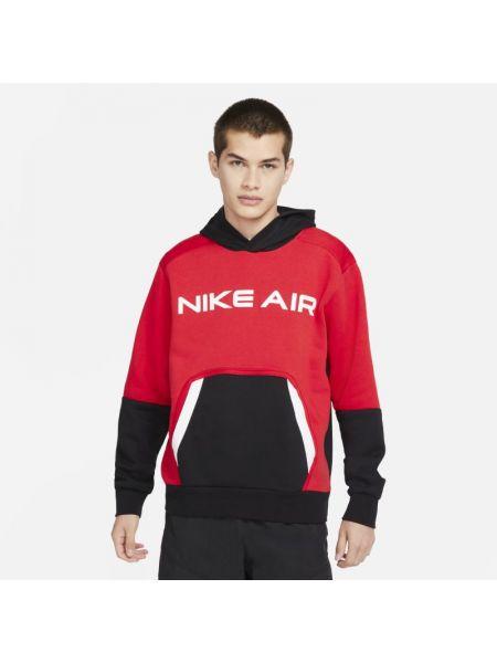 Czerwony pulower z kapturem dzianinowy Nike