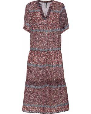 Платье миди с V-образным вырезом с рукавами Bonprix