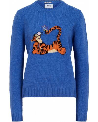 Пуховый синий свитер с рисунком Miu Miu
