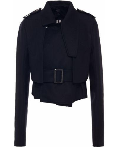 Czarna kurtka wełniana z paskiem Rick Owens
