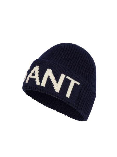 Prążkowana niebieska czapka wełniana Gant