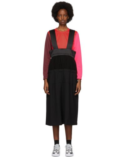 Черная плиссированная сатиновая юбка миди Comme Des Garçons