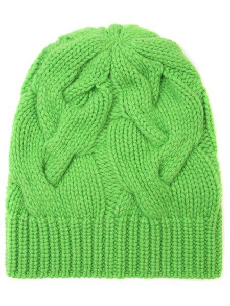 Зеленая кашемировая классическая шапка без застежки Panicale