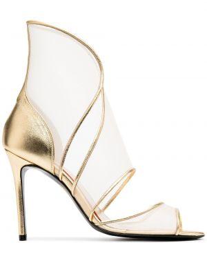 Кожаные открытые босоножки на высоком каблуке на каблуке золотые Maison Ernest