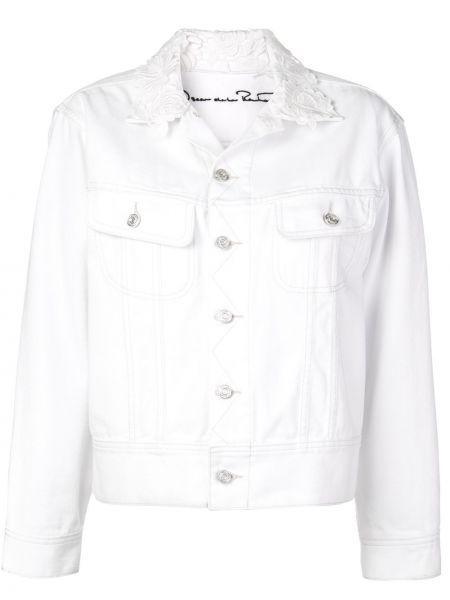 Белая джинсовая куртка с вышивкой с воротником Oscar De La Renta
