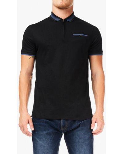 Черное поло с коротким рукавом Burton Menswear London