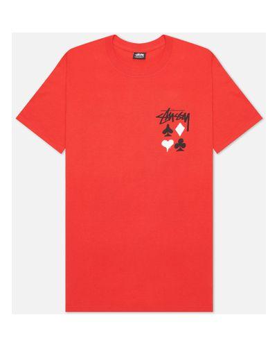 Красная хлопковая футболка Stussy
