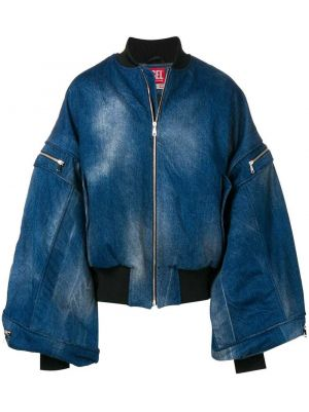 Синяя джинсовая куртка летучая мышь с манжетами на молнии Diesel Red Tag
