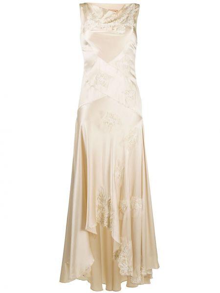 Sukienka długa asymetryczna z jedwabiu z siateczką Antonio Marras