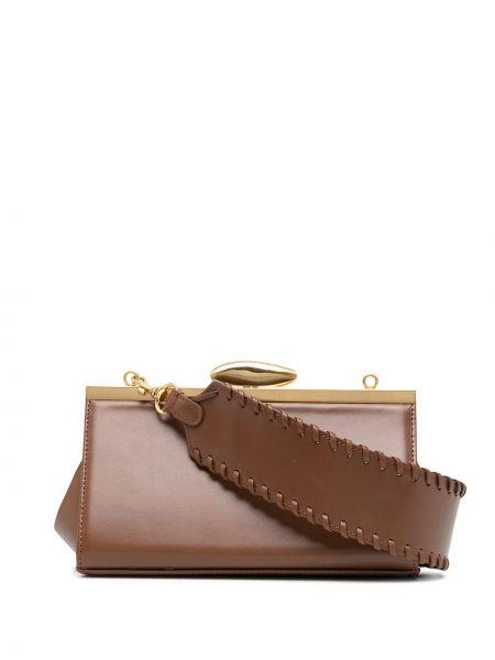С ремешком кожаная коричневая сумка на плечо прямоугольная Reike Nen