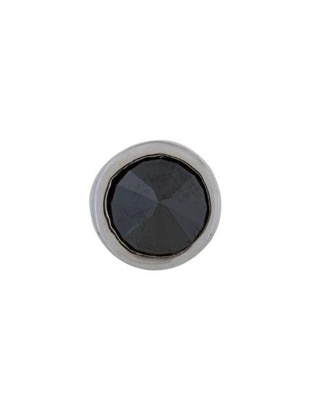 С цирконием черные серебряные серьги E.m.