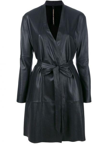 С рукавами черное прямое кожаное пальто с поясом Olsthoorn Vanderwilt