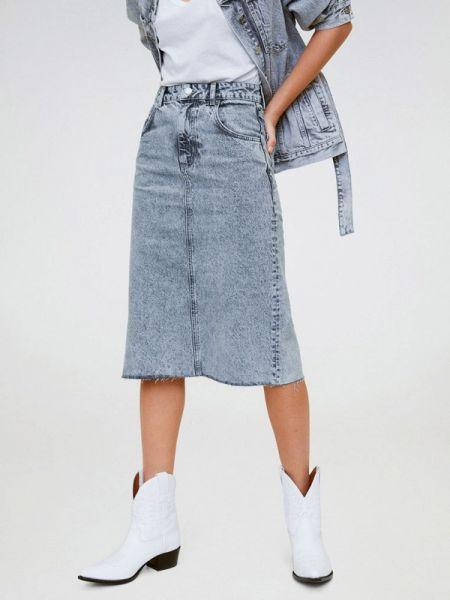 Джинсовая юбка весенняя серая Mango