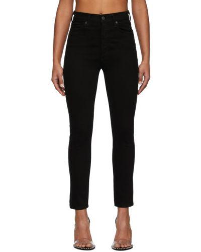Włókienniczy czarny jeansy do kostek z łatami z kieszeniami Citizens Of Humanity
