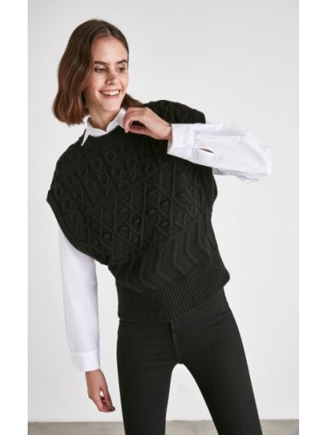 Bluzka z siateczką - czarna Trendyol