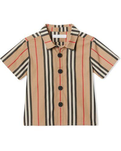 Рубашка в полоску бежевый Burberry Kids