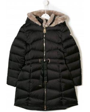 Черное пуховое длинное пальто Treapi