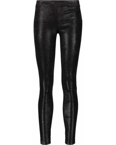 Черные кожаные леггинсы стрейч J Brand