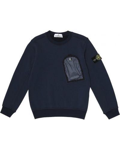 Bawełna niebieski bawełna bluza Stone Island Junior