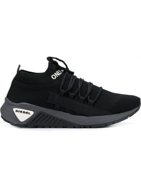 Czarny wysoki sneakersy koronkowy sznurowany Diesel