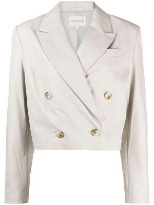 Серый кожаный удлиненный пиджак двубортный Loulou