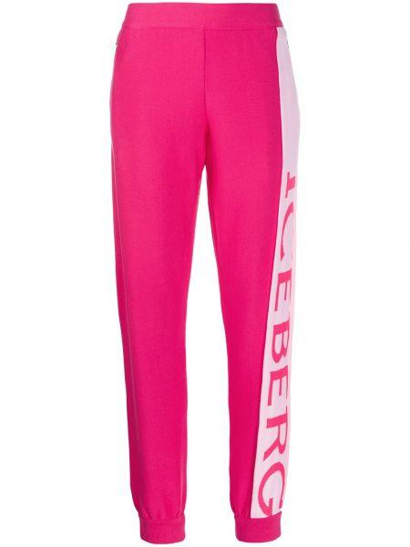 Розовые спортивные брюки с поясом с манжетами узкого кроя Iceberg