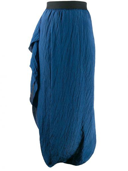 Синяя юбка макси с поясом Poiret