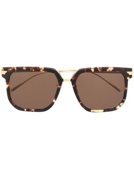 Золотистые желтые солнцезащитные очки квадратные металлические Bottega Veneta Eyewear