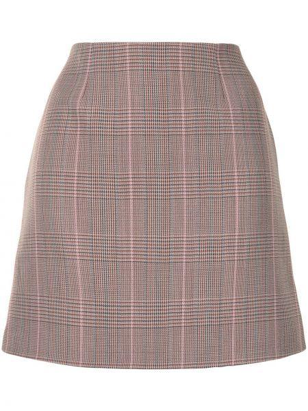 Шерстяная коричневая с завышенной талией юбка мини на молнии Paule Ka